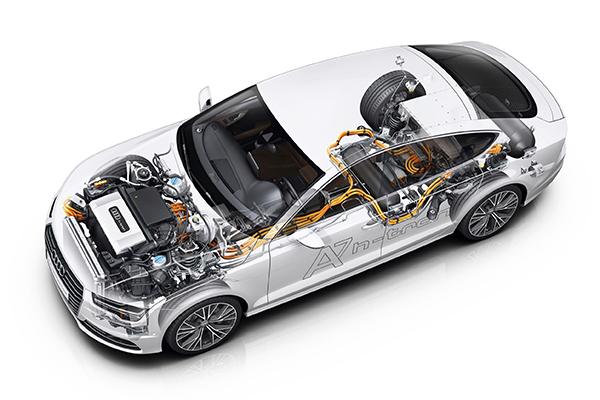 Esquema de motorização elétrica com célula de combustível num modelo da Audi, marca pertencente ao grupo Volkswagen